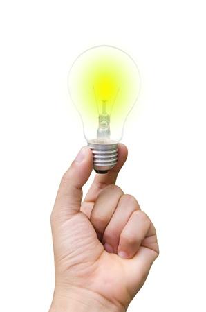 bright lamp in hand Stock Photo