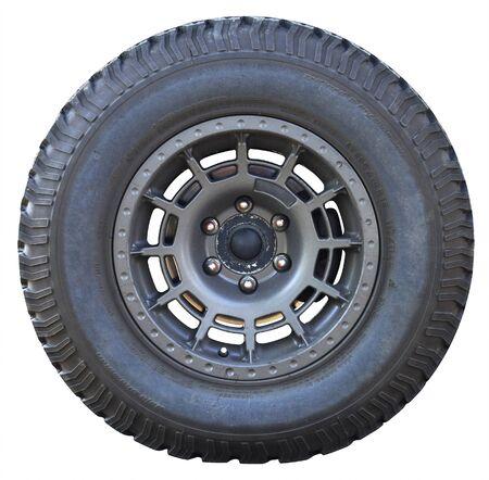 Car wheel on white background, tires car wheel Stock Photo