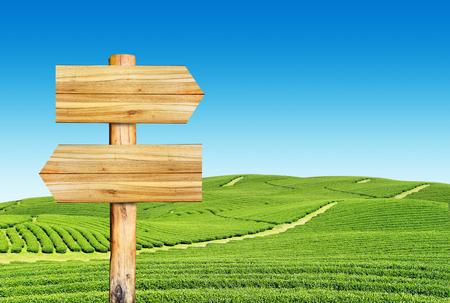 wooden billboard, wooden sign on green field