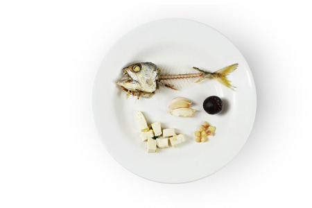 Fish skeleton on plate ,Concept of food shortage, poor