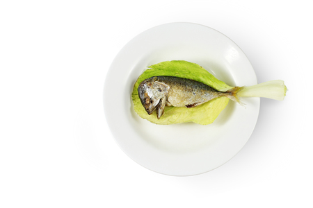 destitute: Fish on plate and vegetable, Concept of food shortage, poor Stock Photo
