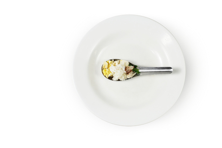 austere: full food on spoon and dish