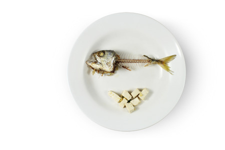 Fish skeleton and modicum foods on plate, Concept of food shortage, poor Stock Photo