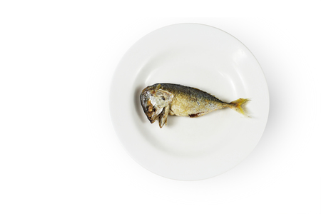 Fish on plate, Concept of food shortage, poor Stock Photo