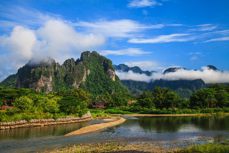 purity: The natural is still purity and beautiful in Vang Vieng, Laos. Stock Photo