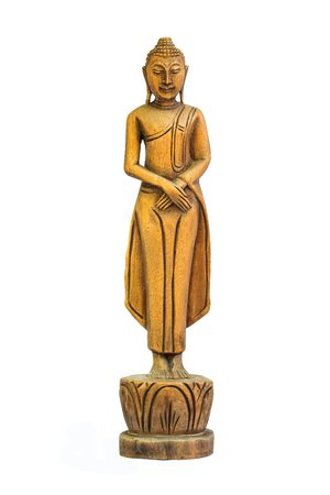 veneration: Buddha carved wooden birthday beliefs of Buddhists.