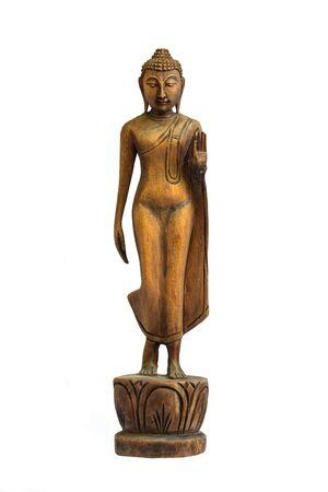 woodcraft: Buddha carved wooden birthday beliefs of Buddhists.