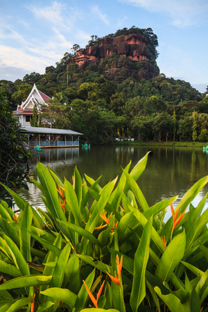 Buddhist temple on the mountains in Thailand. Stock Photo