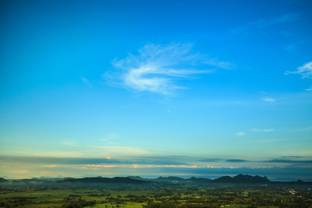 Background from blue sky in the valley of agricultural.