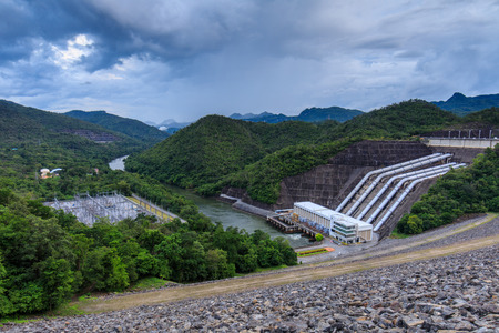 Viewpoint of Srinagarind dam, Thailand. The dam for hydroelectric plans.