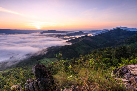 Phu Pha Dak, Landscape sea of mist on Mekong river in border of Thailand and Laos, Nongkhai province Thailand.