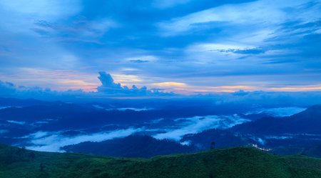 Landscape sea of mist in Kanchanaburi province  border of Thailand and Myanmar. Stockfoto