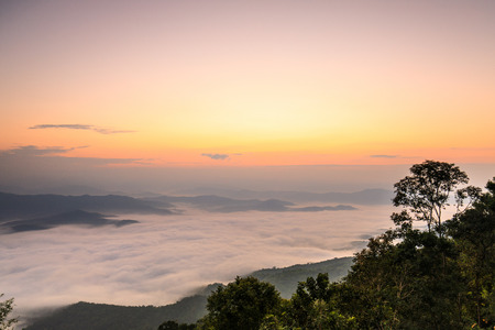 Doy-sa-merh-dow, Landscape sea of mist in national park of Nan province  Thailand.