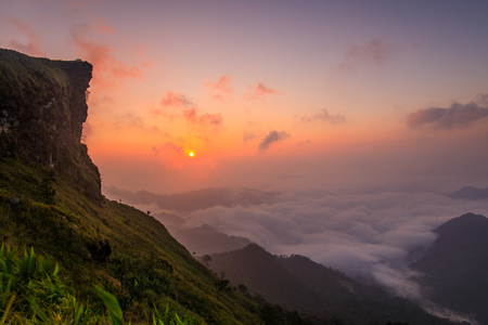 Landscape of Phu- chee-fah, High mountain border  of  Thailand and Laos. Chiang-Rai province, Thailand. Stock Photo