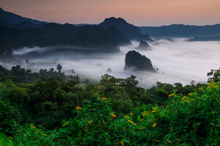 Landscape of Phu- lang-ka, The magic valley  in Payao province, Thailand.