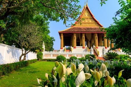 Wat Phra Keo, The old buddhist temple in Vientiane capital of Laos. Stock fotó