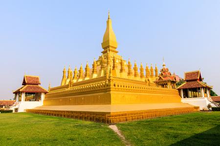 Pha That Luang a gold buddhist stupa, landmark of Vientiane, Laos PDR.