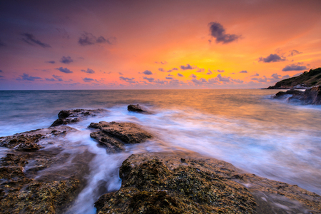 Colorful sunset on the sea in Khaoleamya-mookoh samet national park Rayong province, Thailand.