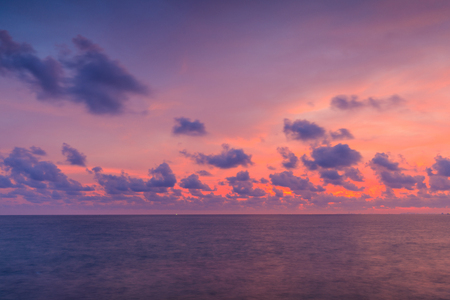 Colourful sunset for background. Dramatic sunset with  twilight colour sky and clouds. Banque d'images