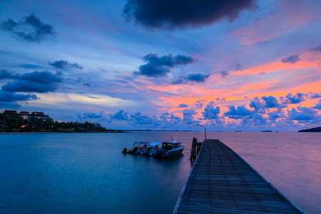 Colorful sunrise on the sea in Khaoleamya-mookoh samet national park Rayong province, Thailand.