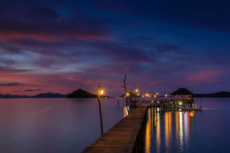 Colorful sunset on the sea in Koh  Mak island, Trat province, Thailand.