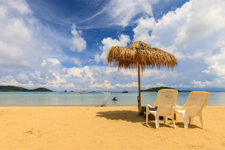 Umbrella and chair on the tropical beach in  Koh Mak island, Trat province,Thailand
