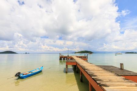 wooden bridge on tropical beach in  Koh Mak island, Trat province,Thailand