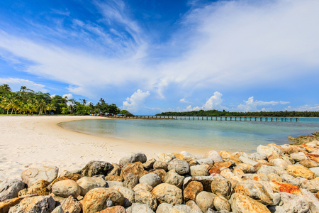 White sand and blue sky in tropical beach in  Koh Mak island, Trat province,Thailand Banque d'images