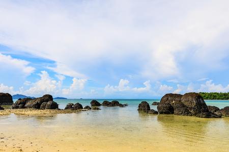 Beautiful volcanic rocks along the beach in  Koh Mak island, Trat province,Thailand