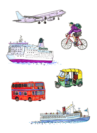 Different types of transport isolated on a white background. Design for summer holidays, children, tourism, adventure seekers. Hand-drawn cute cartoon travel illustration.