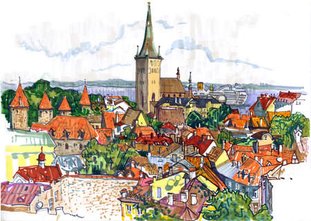 View of Tallinn old town with St. Olaf's Church and the Baltic sea. Famous landmark Estonia. Travel, tourism. Hand drawn colorful sketchy style illustration. Standard-Bild
