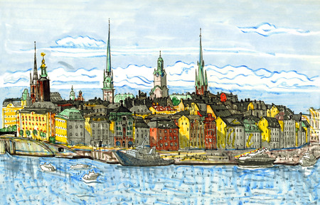 Stockholm Sweden old town famous cityscape. Hand drawn sketchy style illustration. Scandinavia, tourism, travel, landmark.