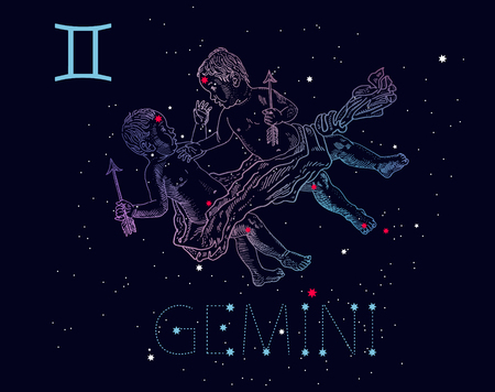 Gemini zodiac sign and constellation. Babies twins on a cosmic dark blue background with stars. Horoscope astrology icon, Greek mythology. Vintage engraving tattoo. Hand drawn vector illustration.