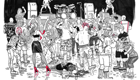 Open air rock music heavy metal festival crowd. Hand drawn black and white graphic comic style humorous funny illustration. Metalhead, headbanger, punk, subcultures people, teenagers, longhair men. Stock Photo