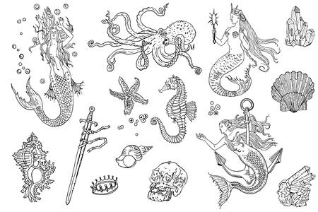 Vintage fantasy nautical set: long haired mermaid, underwater treasures, octopus, shell, starfish, anchor, drowned sword, crown, skull, crystal, sea horse. Hand drawn tattoo style vector illustration. Illustration