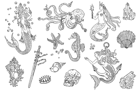 Vintage fantasy nautical set: long haired mermaid, underwater treasures, octopus, shell, starfish, anchor, drowned sword, crown, skull, crystal, sea horse. Hand drawn tattoo style vector illustration. Ilustração
