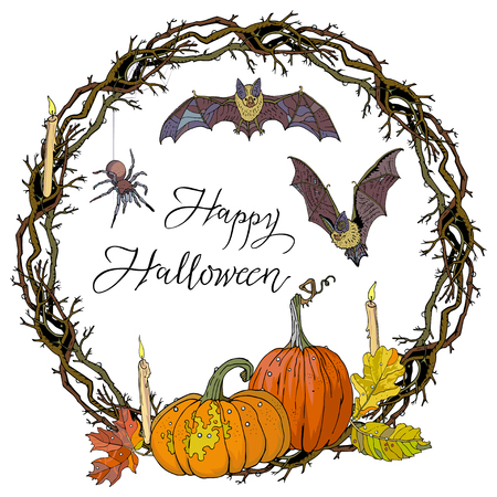 Halloween round gothic branches wreath with pumpkins, candles, autumn leaves, bats and spider. Garland for invitation, greeting card, poster design, advertisement. Hand drawn vector illustration. Vectores