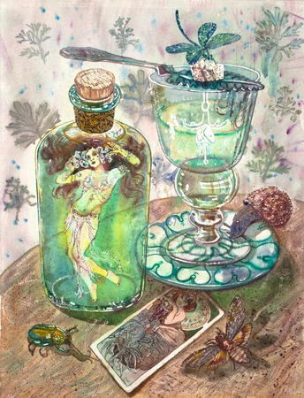 Absinth fairy. Beautiful girl in a belly dance costume, green absinthe bottle, glass, insects, dragonfly, snail, beetle, deaths head hawkmoth, art nouveau picture. Fantasy gothic vintage illustration