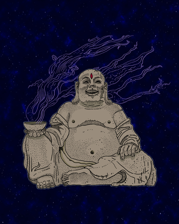 Stone Budai, Hotei or fat Buddha, asian folkloric deity with a steaming cup, gesture of heavy metal horns and the third Eye on a cosmic dark blue background with stars. Fantasy print design. Stock Photo