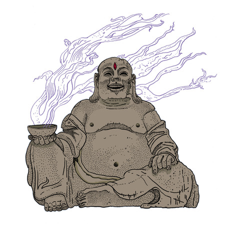 Fantasy stone Budai, Hotei or fat Buddha, asian folkloric deity with a steaming cup, gesture of heavy metal horns and the third Eye. Rock, heavy metal, t shirt print or tattoo design.