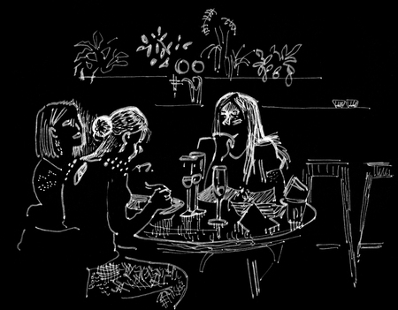 Three girls dine in a restaurant. Glasses of champagne on a round table. Hand drawn sketchy style ink pen illustration white on a black background.