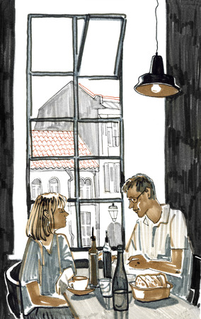 Couple having lunch in a restaurant by the window with a view of the city. Hand drawn cute sketchy style marker pen illustration.