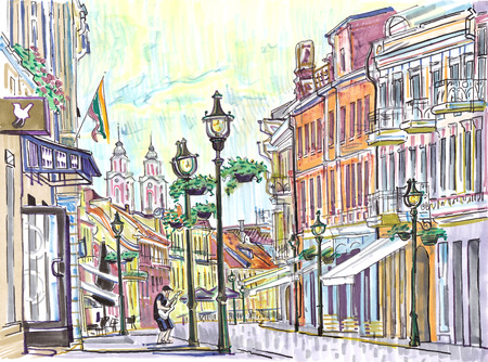 Cozy street of Kaunas Old Town in summer. Historical architecture, cathedral, cafes, musician playing guitar, flag of Lithuania. Baltic states landmark. Hand drawn sketchy style markers illustration.