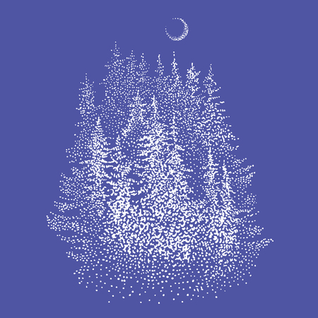 Spruce forest and waxing crescent moon. Hand drawn stippling or dotwork style sketchy graphic illustration in white color. Winter wonderland, wildlife symbol, Christmas greeting card, logo design.