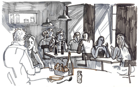 People eating and talking in a cozy restaurant by the window. Hand drawn sketchy style marker pen illustration.