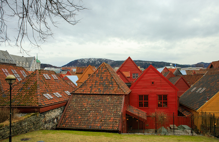 Famous wooden quarter Bryggen in Bergen. Landmark of Norway.