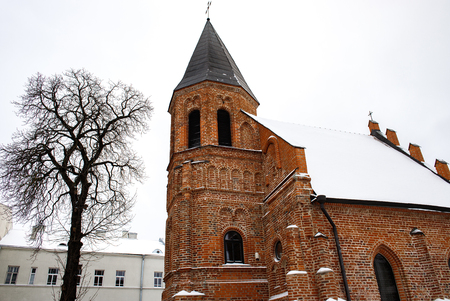 Beautiful church of St. Gertrude located in the Old Town of Kaunas, one of the oldest Brick Gothic churches and buildings of Gothic architecture in Lithuania.
