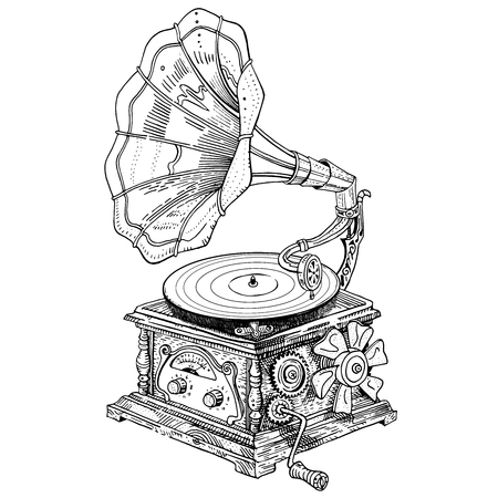Fantasy grotesque vintage steampunk style gramophone. Hand drawn vector ink pen illustration isolated on white. Music festival, band poster, t-shirt, tattoo design, coloring page. Illusztráció