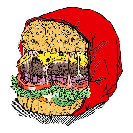 Monster burger. Meat cutlet, cheese, tomatoes, cucumbers, onions, salad, sauce on a sesame bun in a wrap. Angry brutal hamburger. Hand drawn sketchy style illustration. Menu, fast food, junk food.