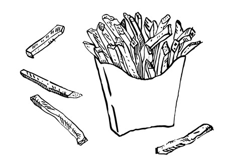 A pack of french fries. Hand drawn ink illustration. Line art isolated black on white. Menu, fast food, junk food.